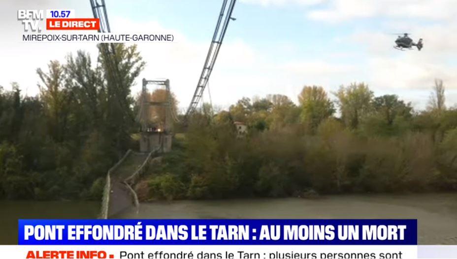 Effondrement du pont. L'illustration de l'effondrement de la France