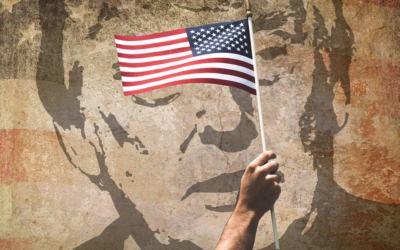 trump fresque drapeau américain